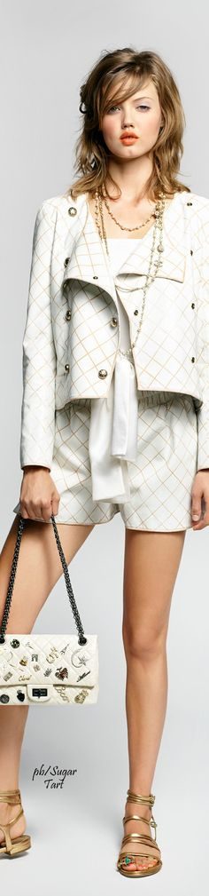Chanel ~ Spring White Jacket w Shorts,2015