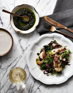 Joe Kindred's Recipe for Charred Squid With Ajo Blanco and Cilantro Pistou