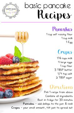 Basic Pancake Recipes from Happy Mum Happy Child - Cooking - Fluffy Pancake Mix Recipe, Pancake Recipe With Yogurt, Best Pancake Recipe, Pancake Recipes, Easy Pancake Recipe For Kids, Dairy Free Pancakes, Pancakes Easy, How To Make Pancakes, Homemade Pancakes