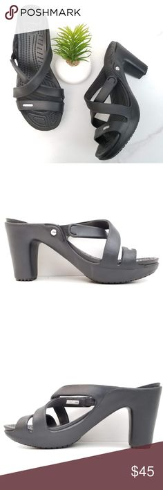 5c832383fd3a Crocs Cypress IV Black Sandal Platform Heels Slide Crocs Cypress IV Black  Sandals Block Chunky heels