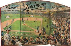 Circa 1910 Piedmont Cigarettes Cardboard Advertising Tri-Fold Sign Featuring Dead Ball Era Baseball Game