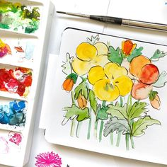 The florals I painted outside on a sunny day! Sketchbook @escoda_brushes . . . . . . #birdsbutterfliesandblooms #wip #watercolor827…