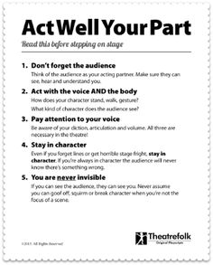 Acting Tips Poster-good reminders for rehearsals and the actual show Acting Lessons, Acting Class, Voice Acting, Acting Tips, Acting Career, Acting Skills, Acting Games, Acting Resume, Teatro Musical