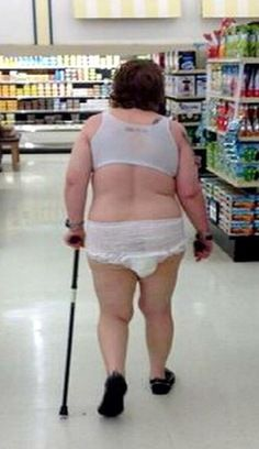 All Dressed in White and Walking Down the Aisle in Adult Diapers at Walmart - Funny Pictures at Walmart
