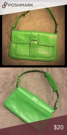 Gently used small genuine leather purse This adorable green purse is a fantastic colorful piece to add to a monochromatic outfit! LOFT Bags