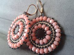 Items similar to Coral Beaded Hoop Earrings - Seed Bead Disc Earrings- Beadwork -Gift for her on Etsy Tatting Jewelry, Seed Bead Jewelry, Bead Jewellery, Seed Bead Earrings, Beaded Earrings, Beaded Jewelry, Handmade Jewelry, Beaded Bracelets, Hoop Earrings