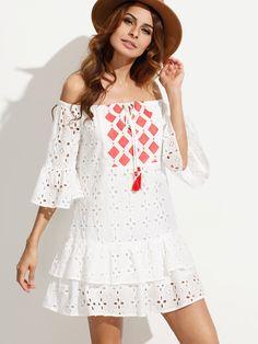 Shop White Embroidered Tassel Tie Off The Shoulder Dress online. SheIn offers…