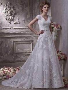 Robe de mariée dentelle Décolleté en V A-Line à manches courtes