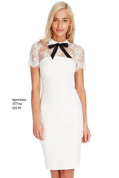 8ef8159a2af Cream Bow Collar Lace Midi Dress - Very pretty and feminine short sleeve  lined midi dress in cream with delicate lace top detailing and contrasting  bow.