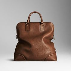 Elephant Grain Print Leather Holdall by Burberry