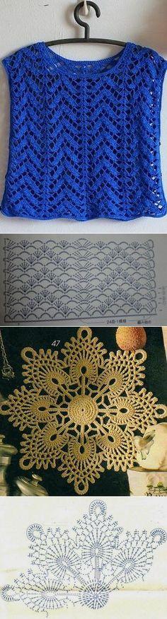 Pattern: Blue top with new stitch / Top azul con punto nuevo (Tejido Facil) Crochet Diagram, Crochet Motif, Crochet Doilies, Crochet Lace, Crochet Tops, Pull Crochet, Mode Crochet, Crochet Shirt, Crochet Stitches Patterns