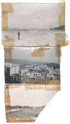 lapresquile:    mianoti:  Bill Burroughs on beach, top (probably by Ginsberg); Tangiers, bottom two.  Silver gelatin print and scotch tape. Collage by William S. Burroughs. (nd, 1954-61)