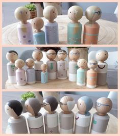 Gezin pegdolls.   #custommade #poppenhuisenmeer Wood Peg Dolls, Clothespin Dolls, Diy For Kids, Crafts For Kids, Kids Art Galleries, Pretty Pegs, Worry Dolls, Family Crafts, Wooden Pegs