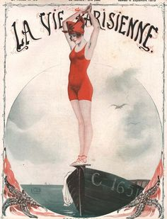 """""""La Vie Parisienne - Magazine Cover from Picture by Advertising Archives buy now as poster, art print and greeting card. Art Deco Illustration, Illustrations, Posters Vintage, Vintage Art, Vintage Dress, Art Français, Ad Art, Art Nouveau, France Drawing"""