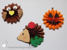 Ježek, sova a dýně z rozety Preschool Crafts, Paper Piecing, Hedgehog, Autumn, Christmas Ornaments, Halloween, Holiday Decor, Education, Hedgehogs