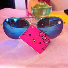Sunglasses New blue mirror no case Hello Kitty Accessories Sunglasses
