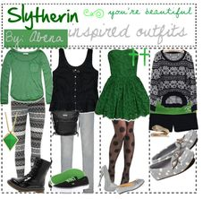 """Slytherin inspired outfits."" by tip-girls-4ever ❤ liked on Polyvore"