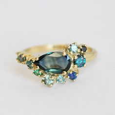 Blue Sapphire Ring, One Of A Kind Cluster Engagement Ring