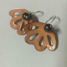 Copper enamel, silver. Earrings