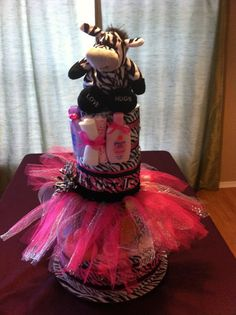 Zebra Diaper Cake by DivaDiapers on Etsy, $115.00