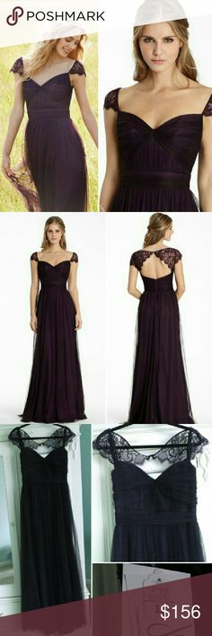 Jim Hjelm Plum Purple Net Lace Dress 5555 Gown Jim Hjelm JLM Couture Style 5555 Size 12. Plum/Eggplant Purple English net A-line bridesmaid gown, sweetheart neckline, gathered bodice and band at natural waist, lace cap sleeves with keyhole back. New with tags, not altered. Beautiful for any formal event! Let me know if you have questions! Jim Hjelm  Dresses Wedding