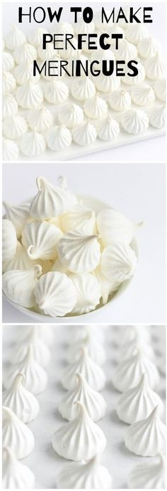 Oct 14 How to Make Perfect Meringues How to Make Perfect Meringues – a step-by-step tutorial for making meringues that will come out perfect every single time! Pavlova Meringue, Meringue Desserts, Cookie Desserts, Just Desserts, Meringue Food, Mini Pavlova, Meringue Cake, Cupcake Recipes, Cookie Recipes