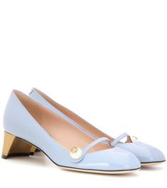 Arielle pale blue embellished patent leather pumps