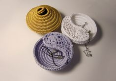 Crochet jewelry dishes earring and rings storage by goolgool