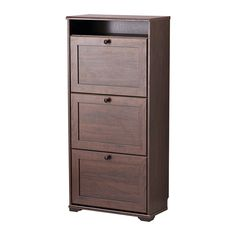 IKEA - BRUSALI, Shoe cabinet with 3 compartments, brown, , Helps you organize your shoes and saves floor space at the same time.</t><t>You can easily adjust the space in the shoe compartments by moving or taking away the dividers.</t><t>In the shoe cabinet your shoes get the ventilation and the space they need to keep them like new longer.