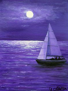 Moonbeam Ripples Across The Tide Canvas Print / Canvas Art by Amy Scholten
