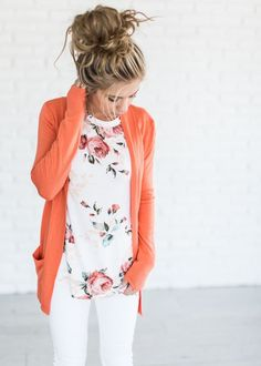 Cardigan and soft floral tee. This cardigan is the perfect shape/length for work. I'd love it in multiple colors.