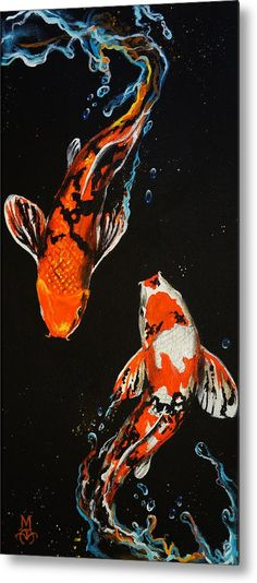 """Koi fish are the domesticated variety of common carp. Actually, the word """"koi"""" comes from the Japanese word that means """"carp"""". Outdoor koi ponds are relaxing. Kunst Inspo, Art Inspo, Koi Kunst, Koi Painting, Fish Paintings, Peace Painting, Fish Artwork, Mermaid Paintings, Chinese Painting"""