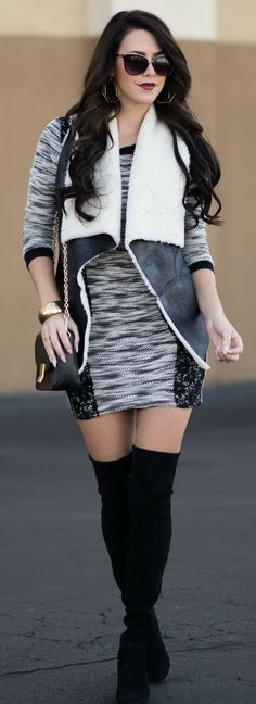 Sweater Dress and Shearling Vest