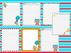 Free Dr. Seuss printable writing papers
