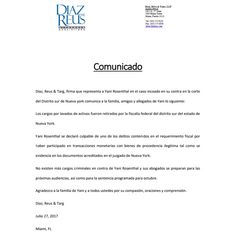 Abogados de Yani: Fiscalía de Nueva York retiró cargos de lavado | NotiBomba