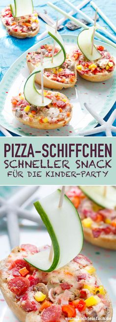 Pizza boat - the quick snack for . - Pizza-Schiffchen – The quick snack for the children& party My simple pizza boats made of ro - Kinder Party Snacks, Snacks Für Party, Party Party, Ideas Party, Diy Ideas, Quick Snacks, Quick Easy Meals, Breakfast Pizza, Breakfast Recipes
