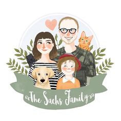 See more from this shop on Etsy, a global marketplace of creative businesses. Family Illustration, Portrait Illustration, Wedding Illustration, Couple Portraits, Pet Portraits, Happy Fathers Day Cards, Illustrator Tutorials, Creative Cards, Cute Drawings
