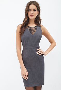 Lace-Paneled Sheath Dress - Love 21 | womens clothing, clothes and apparel | shop online | Forever 21 - 2000101198 - Forever 21 EU