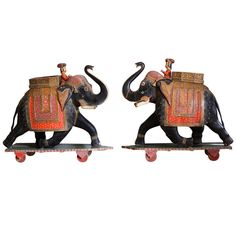 Pair of Indian Elephants | From a unique collection of antique and modern animal sculptures at http://www.1stdibs.com/furniture/more-furniture-collectibles/animal-sculptures/