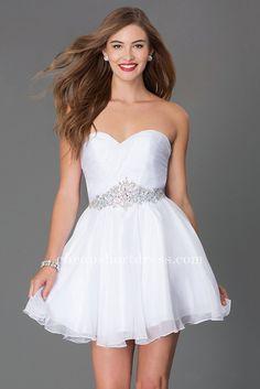 Alyce Paris 3643 Strapless Short White Homecoming Dresses