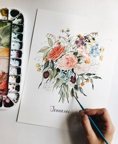 Custom wedding bouquet for a Tennessee bride ♡ Watercolor painting commission ♡ anniversary gift idea ♡ floral painting by Shealeen Louise whimsical illustration Watercolor Flowers, Watercolor Paintings, Painting Flowers, Watercolors, Gouache, Ink Illustrations, Beautiful Artwork, Watercolor Illustration, Art Drawings