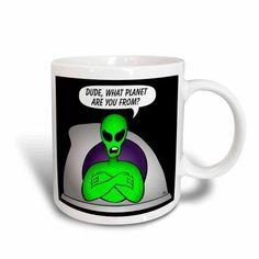 3dRose Aliens AND Ufos alien planet on black, Ceramic Mug, 11-ounce