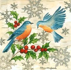 Bluebirds and Holly by Elena Vladykina
