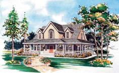 House Plan 95241   Country Farmhouse Plan with 1771 Sq. Ft., 3 Bedrooms, 3 Bathrooms, 2 Car Garage at family home plans