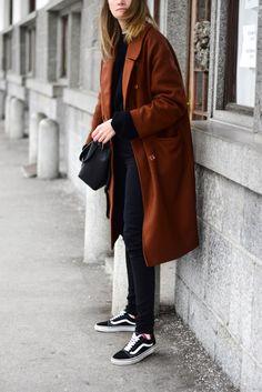 wool coat with vans old skool; katiquette