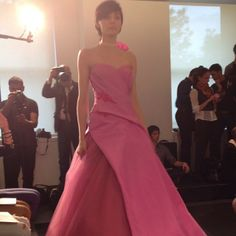 Pink wedding dress by Vera Wang