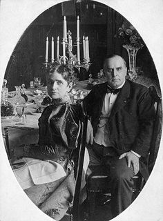 "William McKinley and his wife, Ida. When he took office in 1897, he defied the protocol of the day, insisting his wife be seated beside him at state dinners, so he could help if a seizure struck her, or cover her face with a handkerchief to ward off an impending attack. When he was fatally shot in 1901, his last thoughts were of her, whispering ""My wife - be careful - how you tell her."""