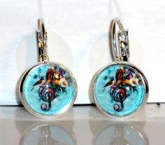 Ohrringe Notenschlüssel Damen Ohrschmuck Modeschmuck Hänger Glas Cabochon Neuware