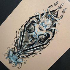 Ursula also up for grabs! Gothic Home, Ange Tattoo, Sea Tattoo, Tattoo Thigh, Tattoo Art, Disney Stitch Tattoo, Disney Key Tattoo, Disney Tattoos For Men, Fandom Tattoos