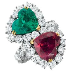An Emerald, Ruby and Diamond Ring | From a unique collection of vintage more rings at https://www.1stdibs.com/jewelry/rings/more-rings/